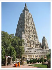The Mahabodhi Temple, a UNESCO World Heritage Site, at Bodhgaya in Bihar, is one of the four holy sites related to the life of the Lord Buddha, and particularly to the attainment of Enlightenment. The first temple was built by Emperor Asoka in the 3rd century BC, and the present temple dates from the 5th century BC or 6th centuries. It is one of the earliest Buddhist temples built entirely in brick, still standing in India, from the late Gupta period.