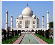 "The Taj Mahal in Agra was built by Shah Jahan as memorial to wife Mumtaz Mahal. It is a UNESCO World Heritage Site considered to be of ""outstanding universal value""."